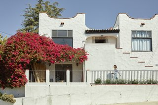 Natale and Caleb Ebel's home in the Silverlake neighborhood of Los Angeles was built in 1922. It has 2 bedrooms/2 baths upstairs, and there's 1 bedroom/1 bath on the lower level, which can work as a separate private suite for family from out-of-town, or a studio for the couple.