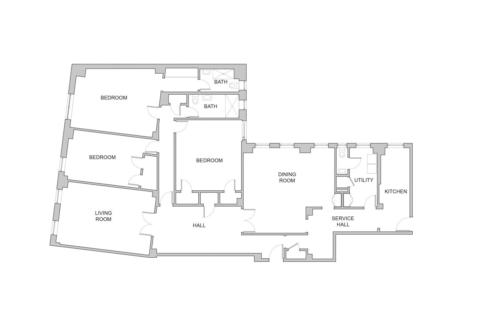 Existing Floor Plan of Eastern Parkway by Frederick Tang Architecture