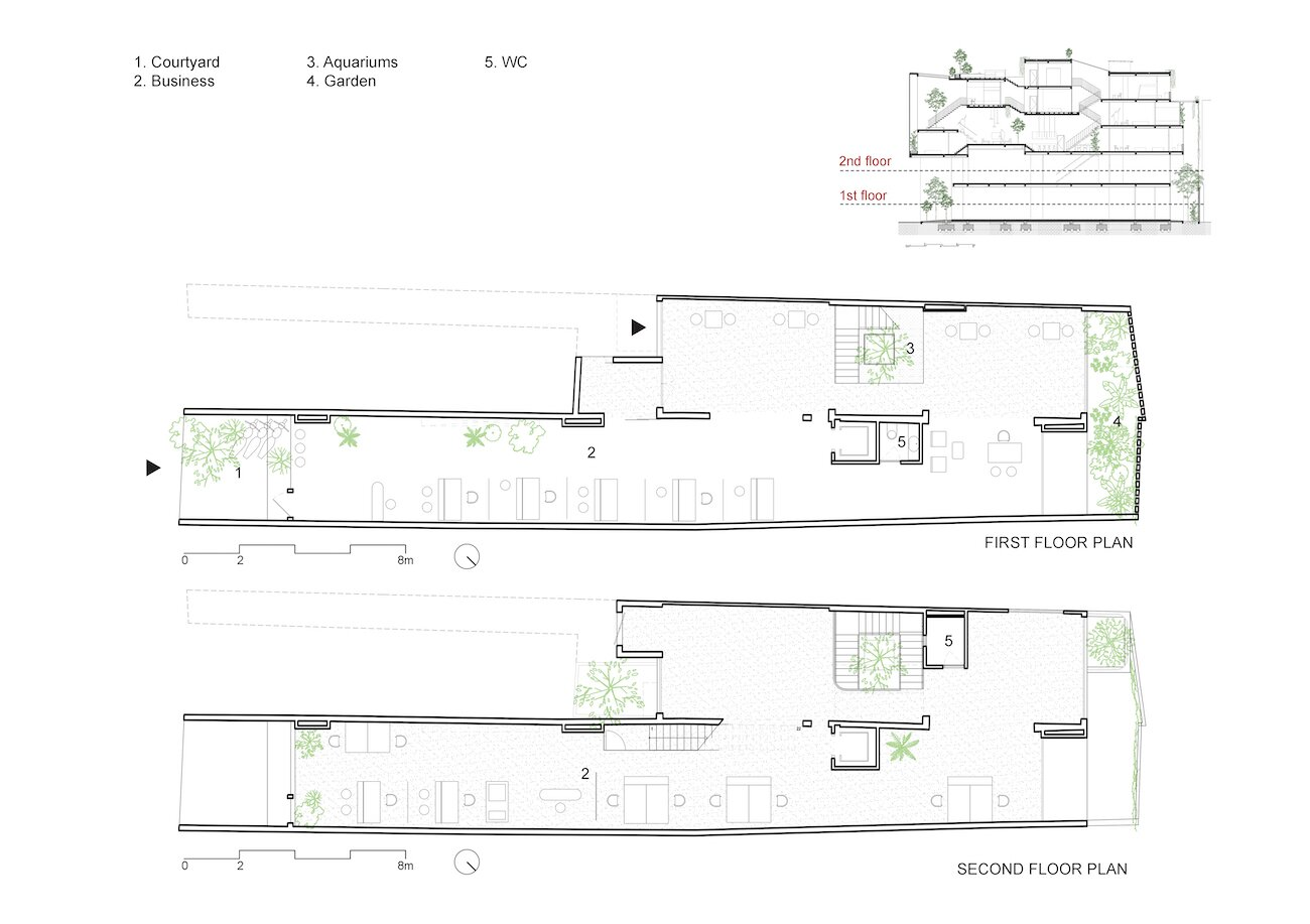 CH House first- and second-level floor plans