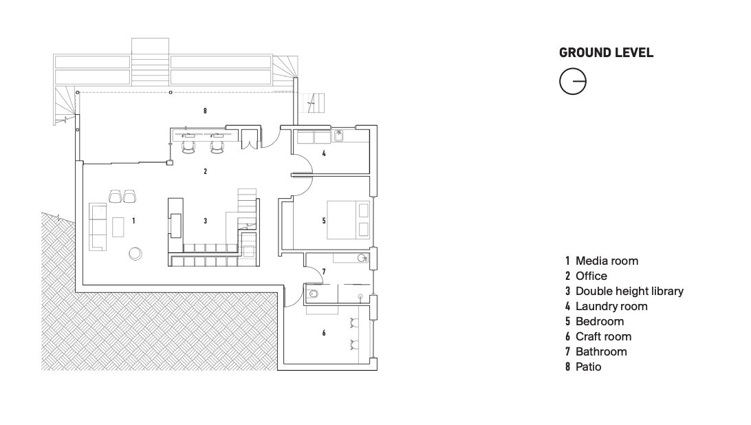 Ground Level Plan  Photo 28 of 28 in Before & After: A Towering Library Becomes the Beating Heart of an Architect's Home