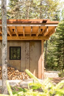 "The firm wanted the materiality of the cabin to be ""in harmony with the site,"" says Shaw. ""So, that over time, the building could weather gracefully and the site around it would change, and they would do so in tandem."""