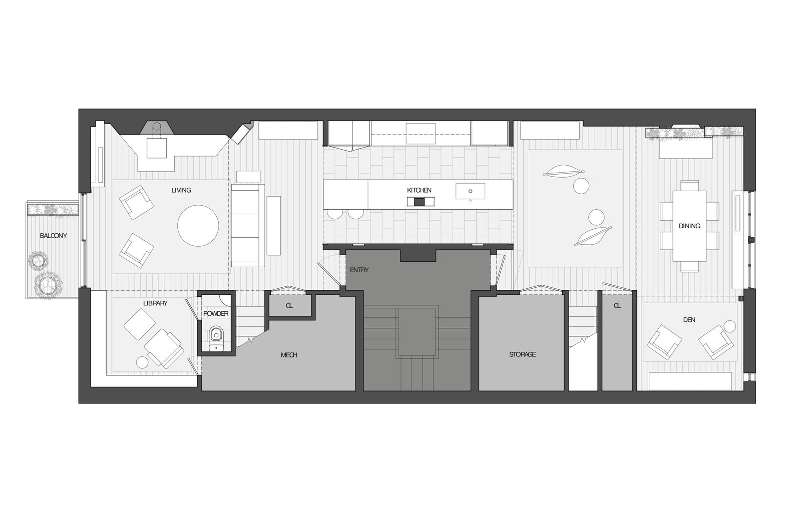 Main floor plan.  Photo 27 of 28 in Before & After: A TV Writer's Chelsea Loft Is Saved From a Hodgepodge of Outdated Remodels