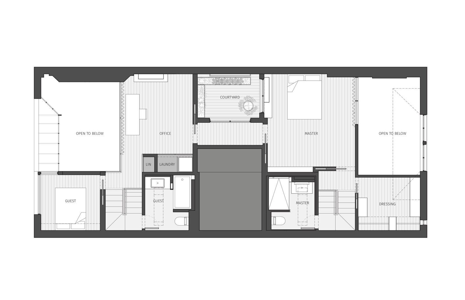 Mezzanine floor plan.  Photo 28 of 28 in Before & After: A TV Writer's Chelsea Loft Is Saved From a Hodgepodge of Outdated Remodels