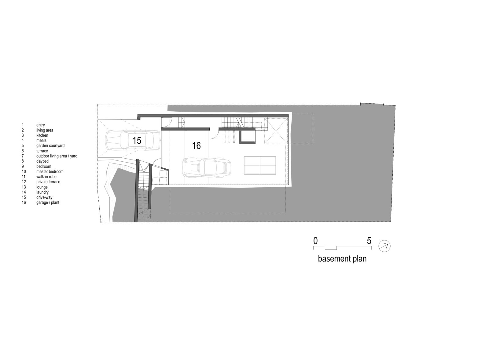 Basement Plan of Ballast Point House by Fox Johnston  Photo 16 of 19 in This Sun-Soaked Sydney Residence Sits on a Sandstone Ledge
