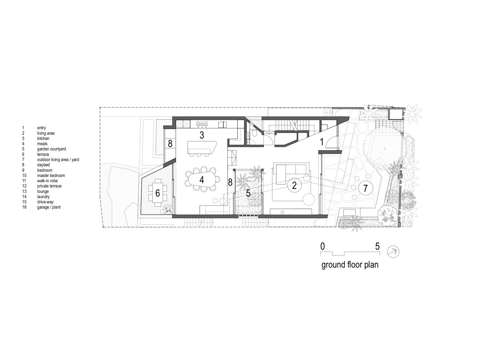 The Ground Floor Plan of Ballast Point House by Fox Johnston  Photo 18 of 19 in This Sun-Soaked Sydney Residence Sits on a Sandstone Ledge