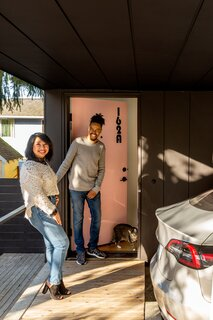 """The homeowners, Claudine and Isaiah, have been living in Seattle for three and a half years, and they moved into their new home this fall. """"We were looking for a modern look and feel, with unique characteristics at an affordable price point,"""" says Isaiah. """"A lot of new construction and updated homes are either very similar and cookie cutter, or unaffordable."""""""
