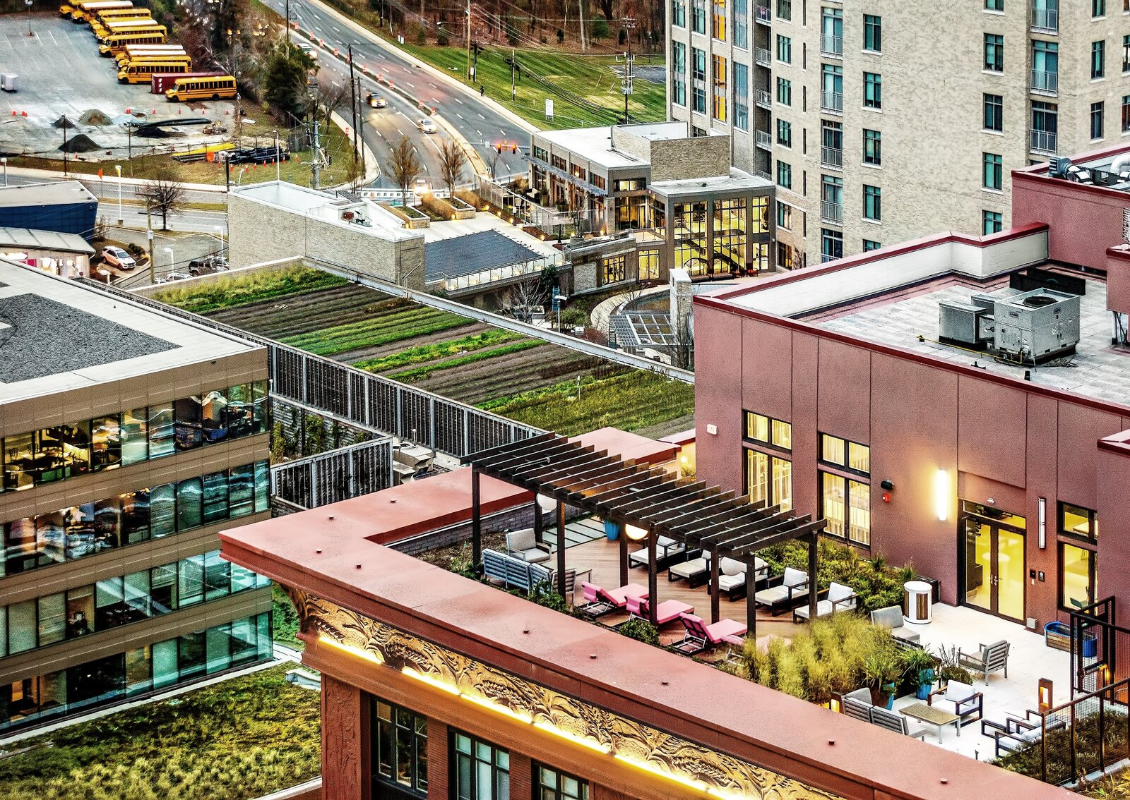 The Pike & Rose is a redevelopment of a 30-acre strip mall within the Pike District in North Bethesda, Maryland. The rooftop farm, planted by Up Top Acres, supplies produce to the nearby restaurants and residents.  Photo 5 of 12 in Is a Sustainable Suburbia Still Possible Post-Pandemic?