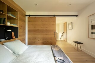 A large sliding door provides privacy.
