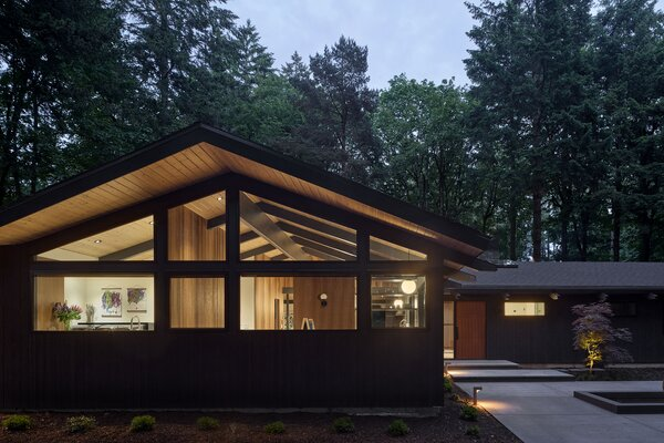 Risa Boyer Architecture guided the whole house remodel of this 1955 Portland home. Lillyvilla Gardens executed a new landscape plan for the property, including this updated entry sequence, while Boyer added more glass to suit the midcentury façade.