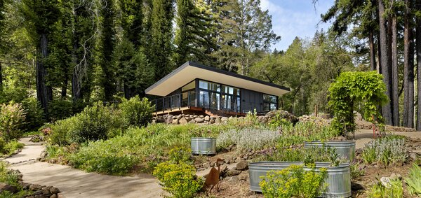 """""""The roof overhang extends the living space,"""" says Boyer, so the deck becomes a spot to entertain visiting friends and family. The couple have been working to restore the surrounding land, as well."""
