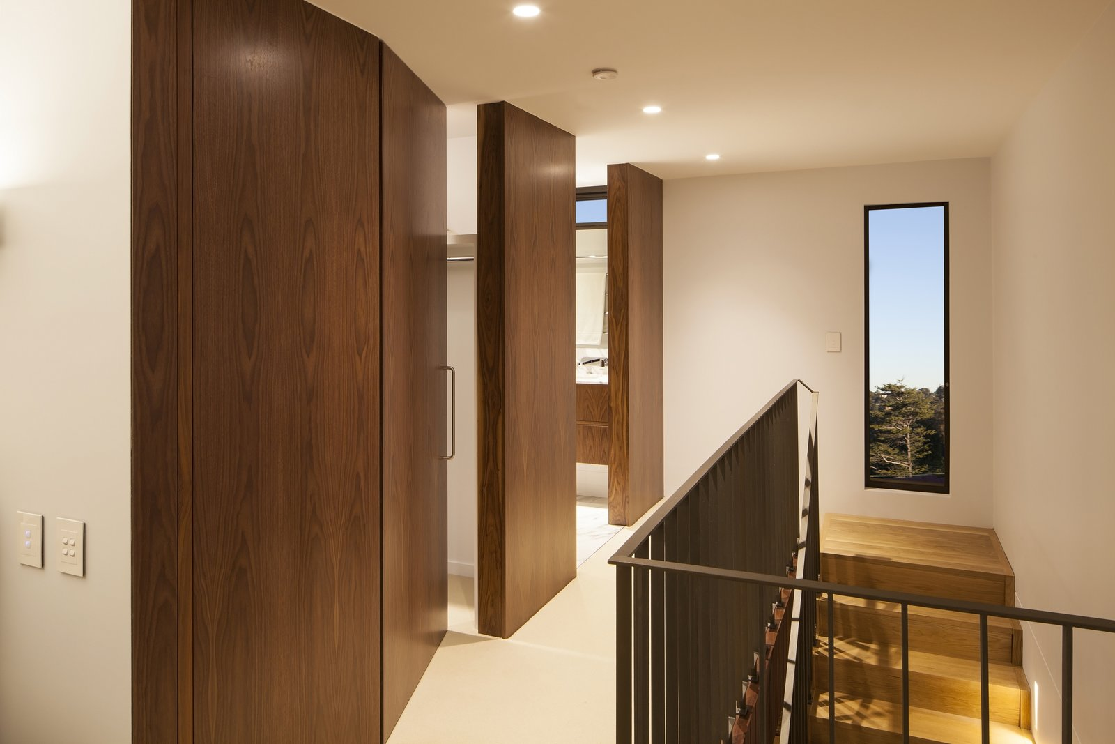 Concealed doors in hallway to Master Bedroom  Castlecrag House by Gerard Page