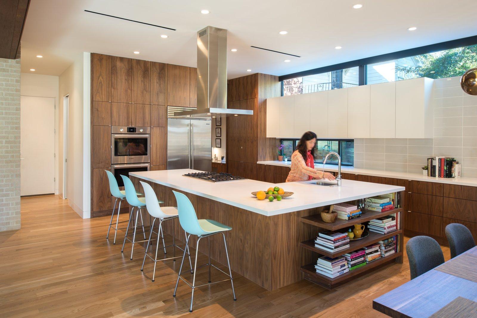 Kitchen, Wall Oven, Engineered Quartz, Undermount, White, Wood, Refrigerator, and Light Hardwood Interior View  Best Kitchen Engineered Quartz Undermount Light Hardwood Photos from McClendon Residence