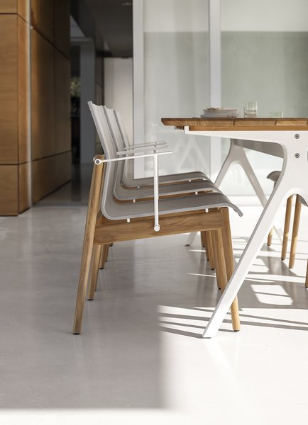 Table, Chair, Outdoor, Back Yard, Large Patio, Porch, Deck, Small Patio, Porch, Deck, Stone Patio, Porch, Deck, and Hardscapes Sway arm chair with a flexible sling seat.   Dining Chairs