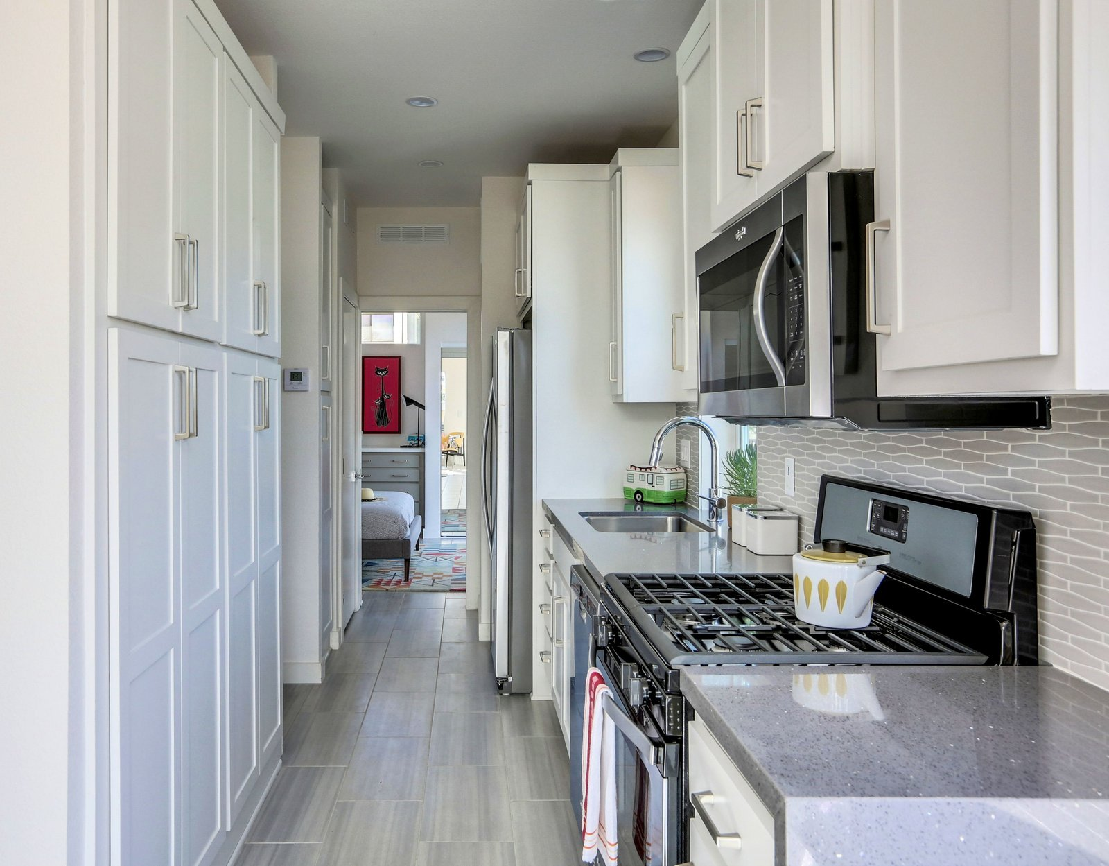 Kitchen with Pantry - full sized appliances -  Palm Canyon Mobile Club  Tiny Homes in Palm Springs