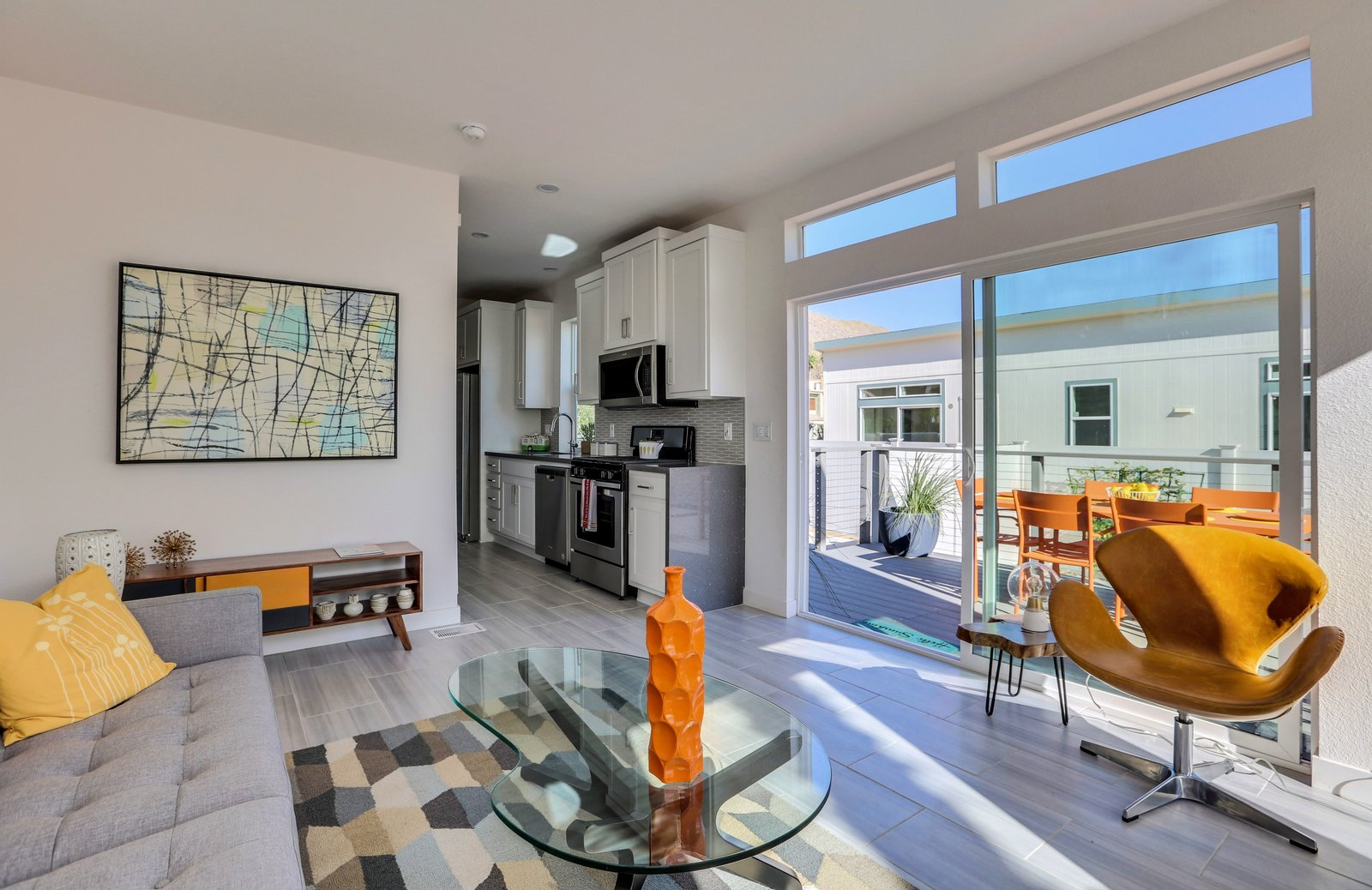 Slider to deck from Living Room -  Palm Canyon Mobile Club  Tiny Homes in Palm Springs