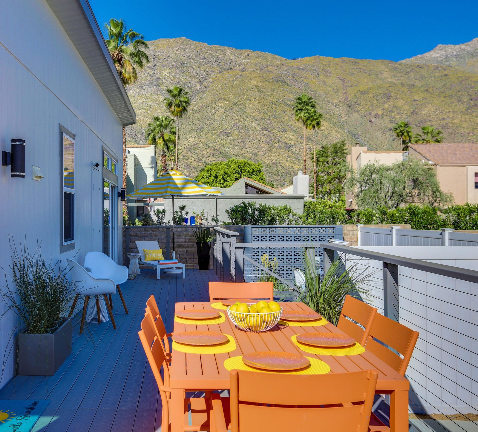 Deck - Palm Canyon Mobile Club  Tiny Homes in Palm Springs