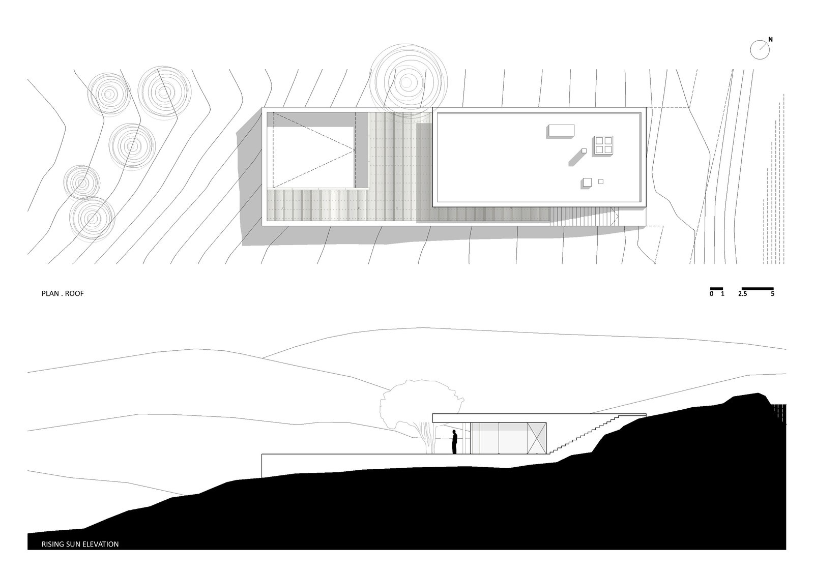 Plan Roof and Rising Sun Elevation  House in Pedrogão