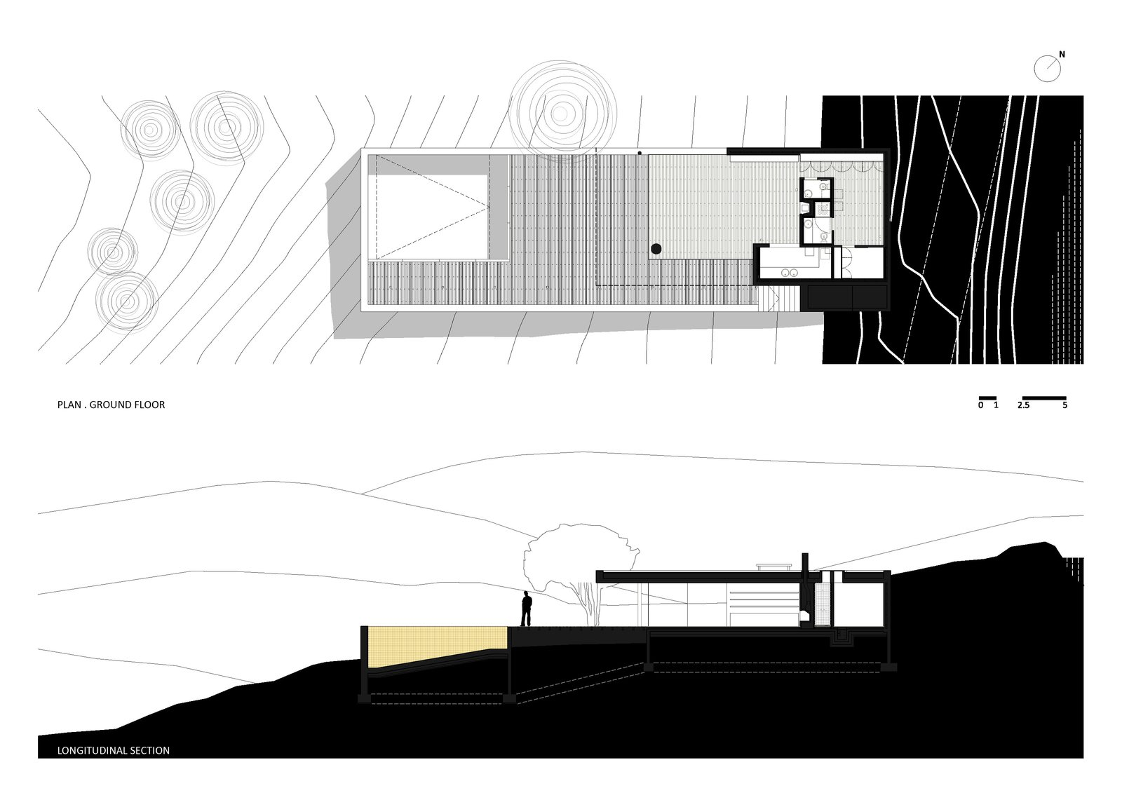 Plan Ground Floor and Longitudinal Section  House in Pedrogão