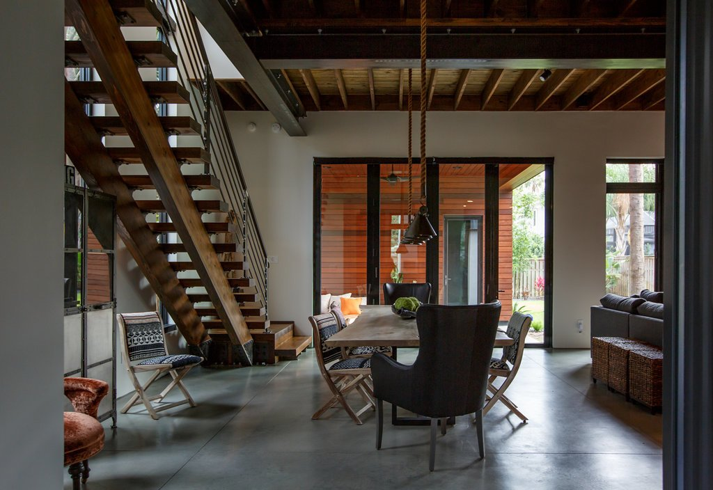 Dining Room, Table, Chair, Ceiling Lighting, Accent Lighting, and Concrete Floor Dining Room  HoF
