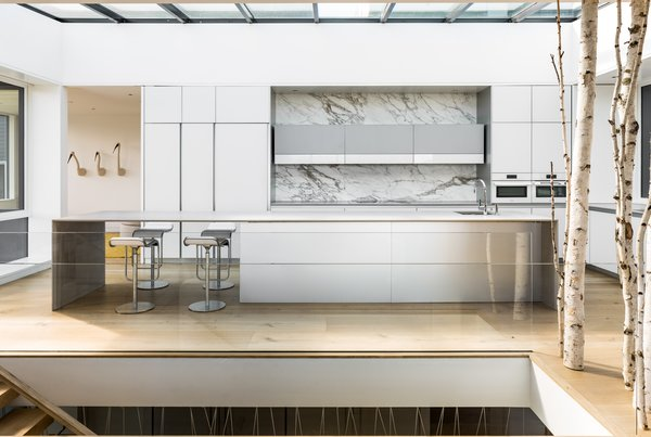An expansive skylight extends the full width and length of the kitchen, flooding natural light into the core of the open and connected living spaces.