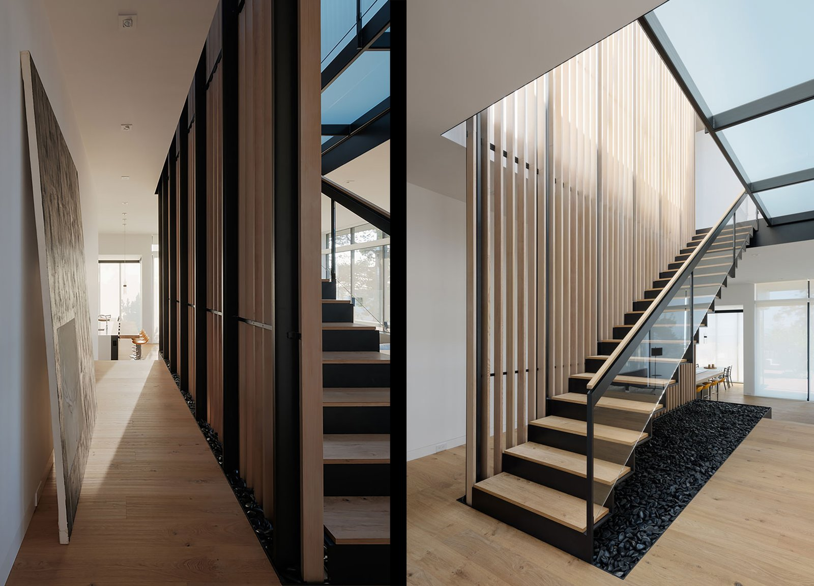 Staircase, Metal Tread, Wood Tread, Metal Railing, Wood Railing, and Glass Railing Main Stair at Slat Screen  Dolores Heights Residence I by John Maniscalco Architecture