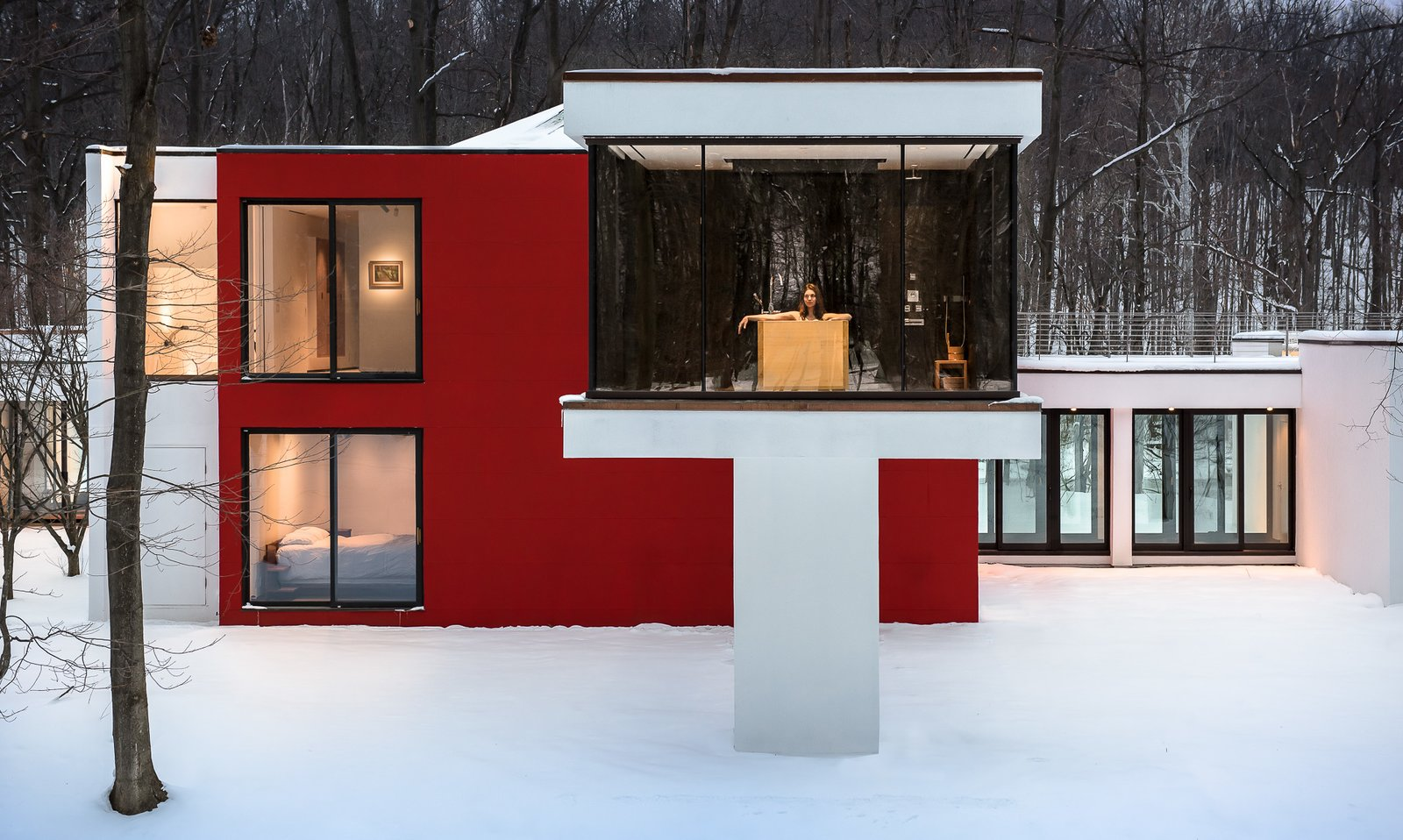 Windows, Picture Window Type, and Masonite Addition with Hinoki tub  House in the Woods by Kim Smith