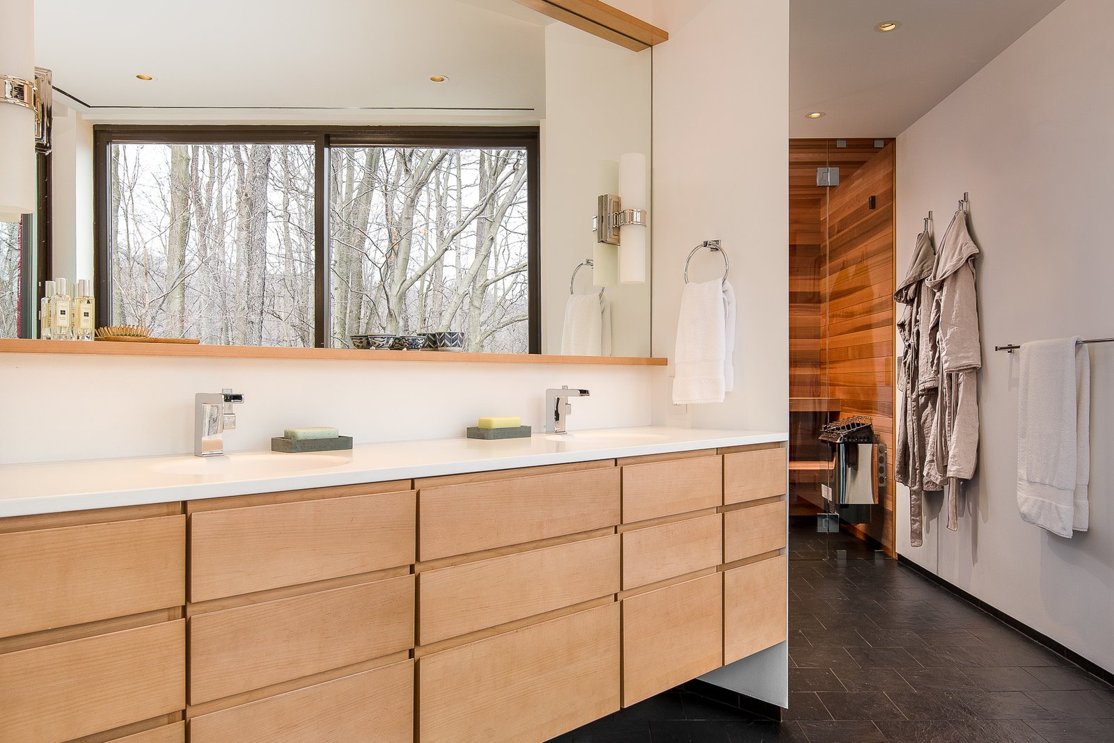 Bath Room, Quartzite Counter, Slate Floor, and Ceiling Lighting Master bath  House in the Woods by Kim Smith