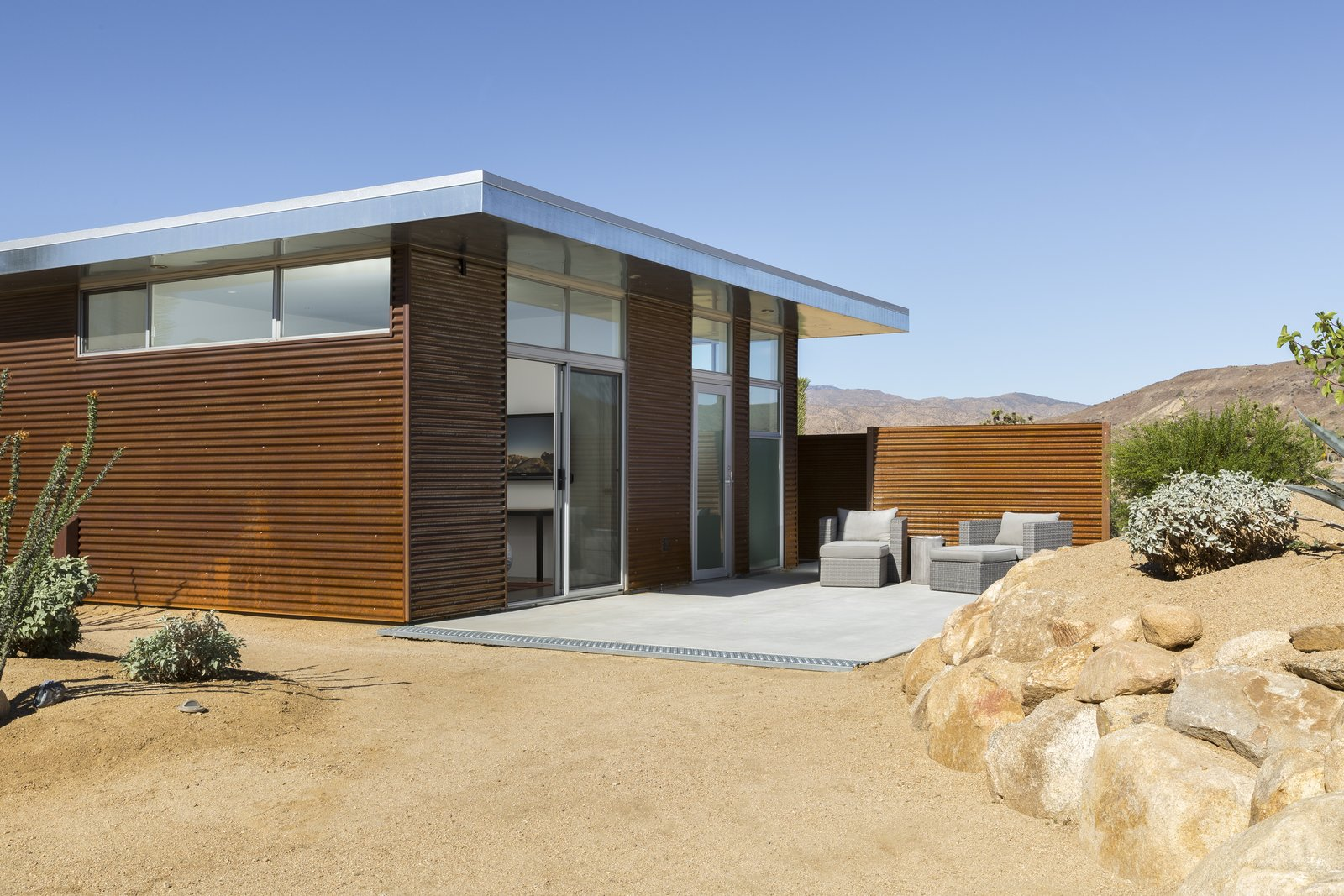 Exterior, Prefab Building Type, Cabin Building Type, Metal Siding Material, Metal Roof Material, and Flat RoofLine Casita  Photo 2 of 10 in This Modern Homestead With a Vintage Trailer Offers Adventure in California's High Desert