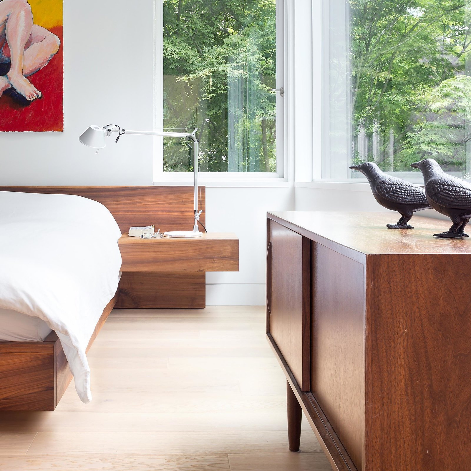 Bedroom, Bed, Table Lighting, Dresser, Light Hardwood Floor, and Night Stands Custom platform bed by Christian Woo lies perfectly beneath the bedroom windows.  built-in from Custom Millwork and Bright Interiors Star in an Elegant Vancouver Home