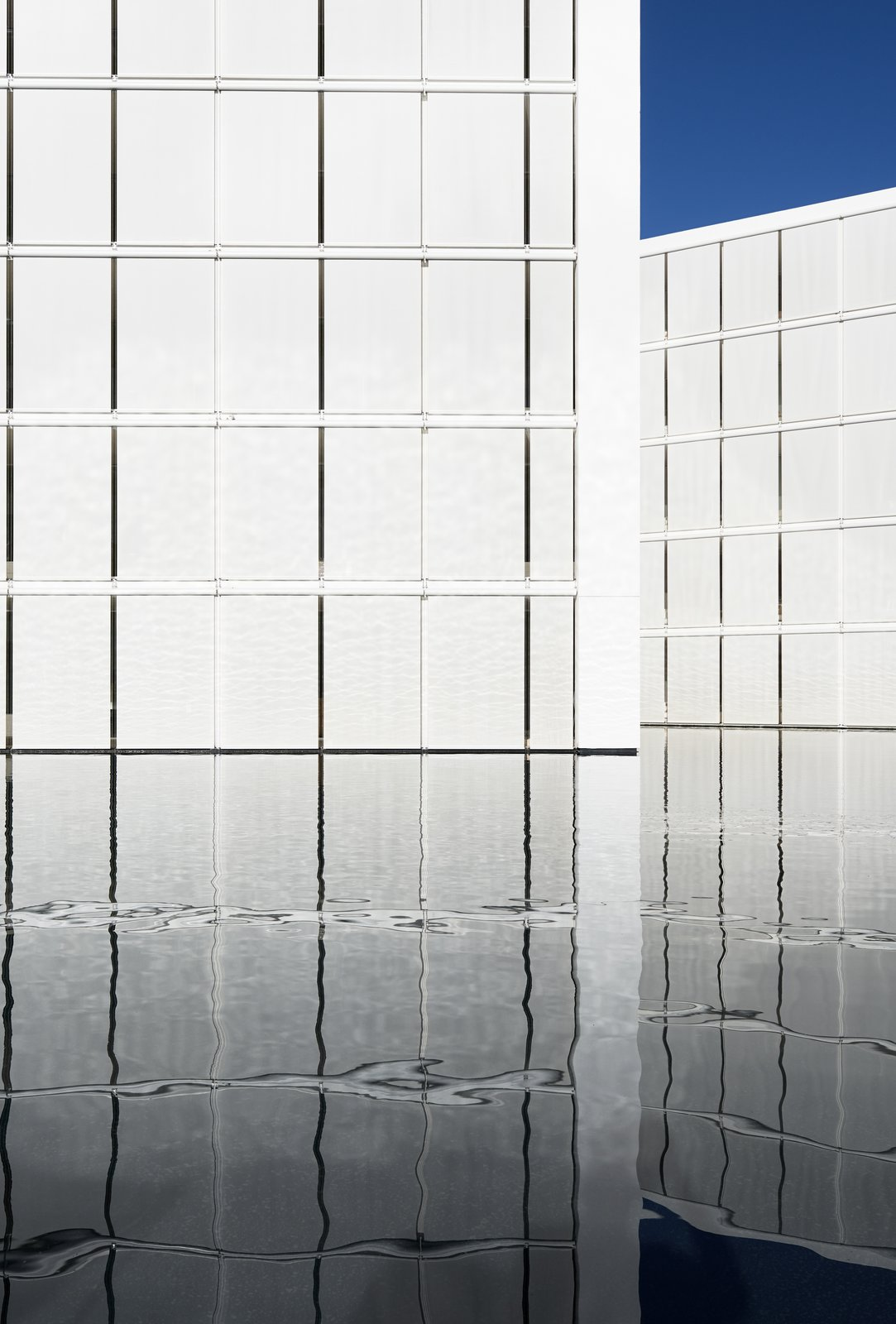 Outdoor and Large Pools, Tubs, Shower The white concrete panels appear to float on the reflecting pool.  Photo 7 of 12 in An Exquisite Beach Resort on Baja California Sur Lies Where the Water Meets the Horizon