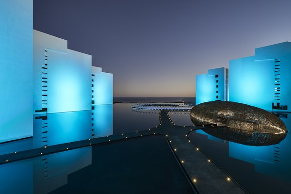 At night, the whole exterior is lit to shades of blue and purple.