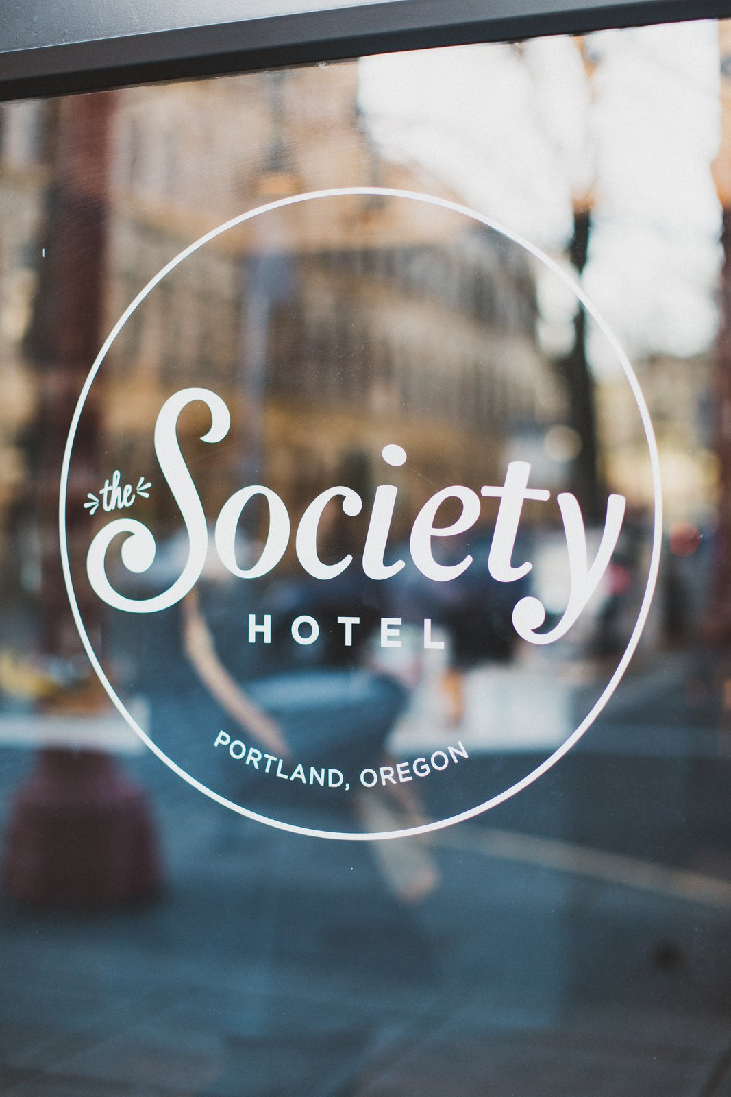 Windows Window graphics provide unobtrusive and elegant signage on the exterior glazing of the historic facade.  The Society Hotel from A Chic Portland Hotel Offers Lodging As Affordable as $35 a Night