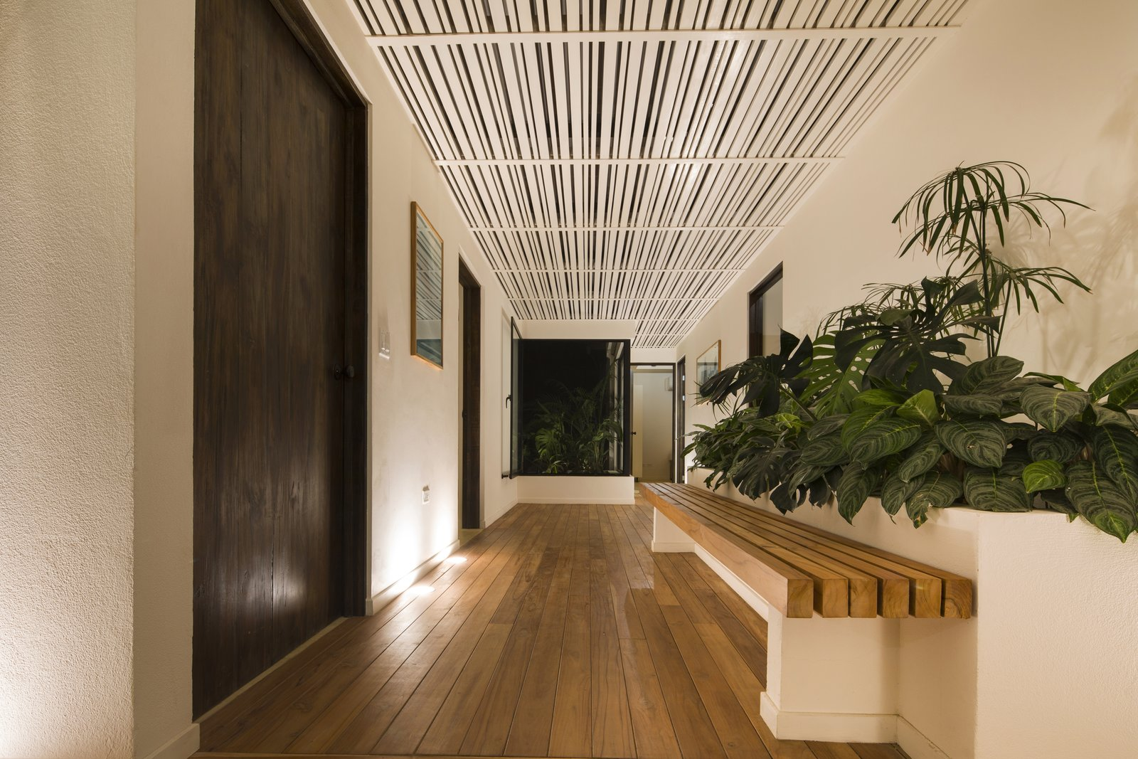 Hallway and Medium Hardwood Floor Slatted roofs above connecting walkways allow dappled light to fall below while framing the view out beyond.  Photo 9 of 11 in Decompress at This Boutique Hotel and Yoga Retreat in the Costa Rican Jungle
