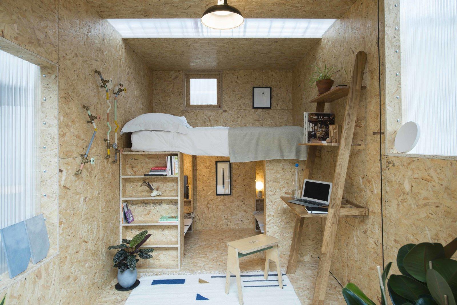 Oriented strand board bedroom