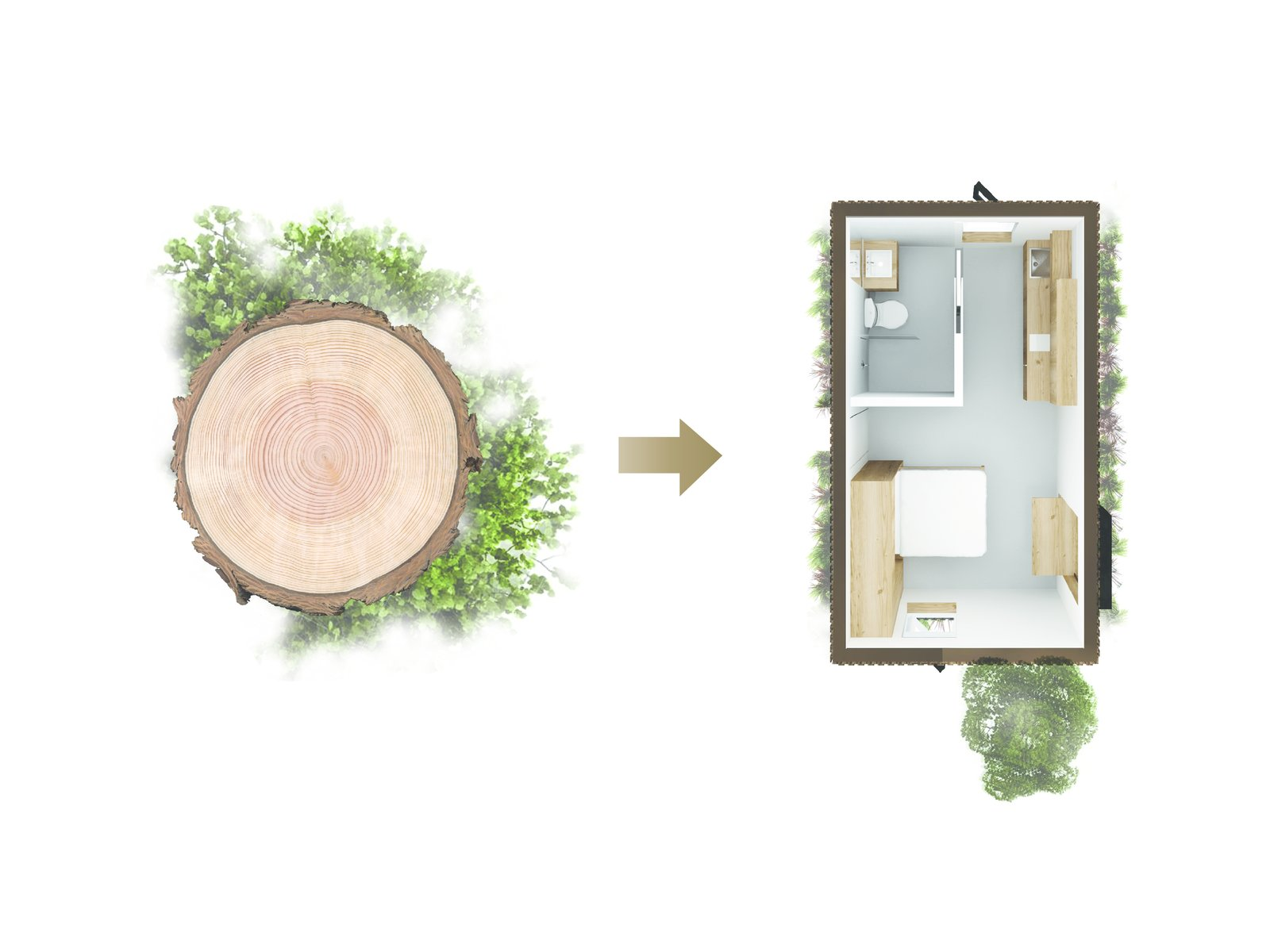 Diagram portrays the connection between the natural elements and the built form.  Photo 2 of 9 in A Modern Micro-House in Portland Clad in Local Fir