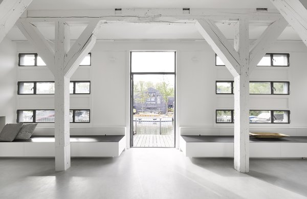 Existing, renovated windows provide ample daylight and views to the surrounding ship yard beyond.
