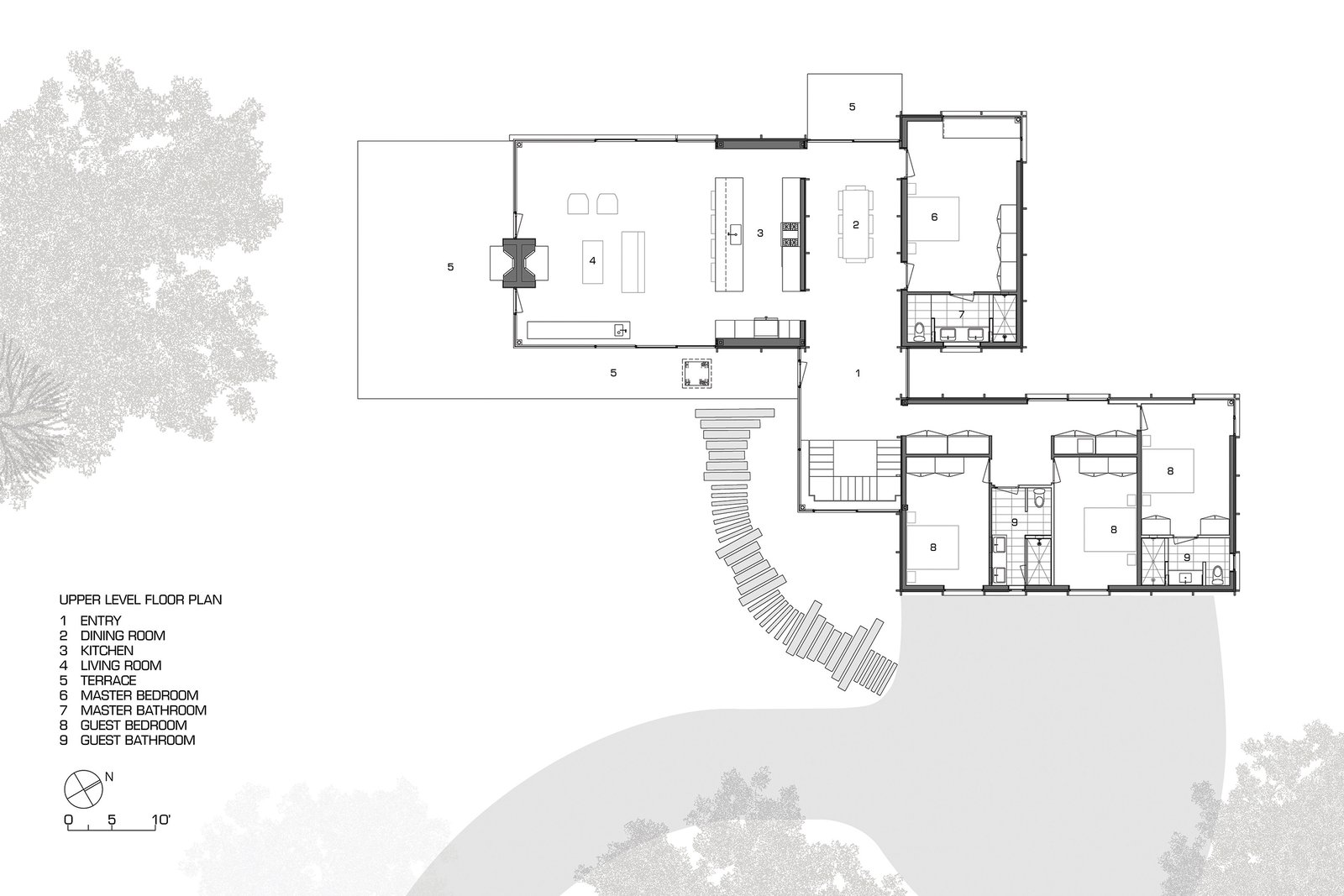 Upper level floor plan  Photo 4 of 12 in A Dramatic Cantilevered Roof Creates a Spacious Terrace Overlooking Lake Michigan