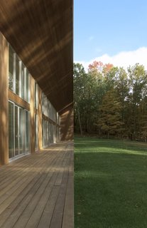 A cantilevered eave provides shading during warm, summer months.