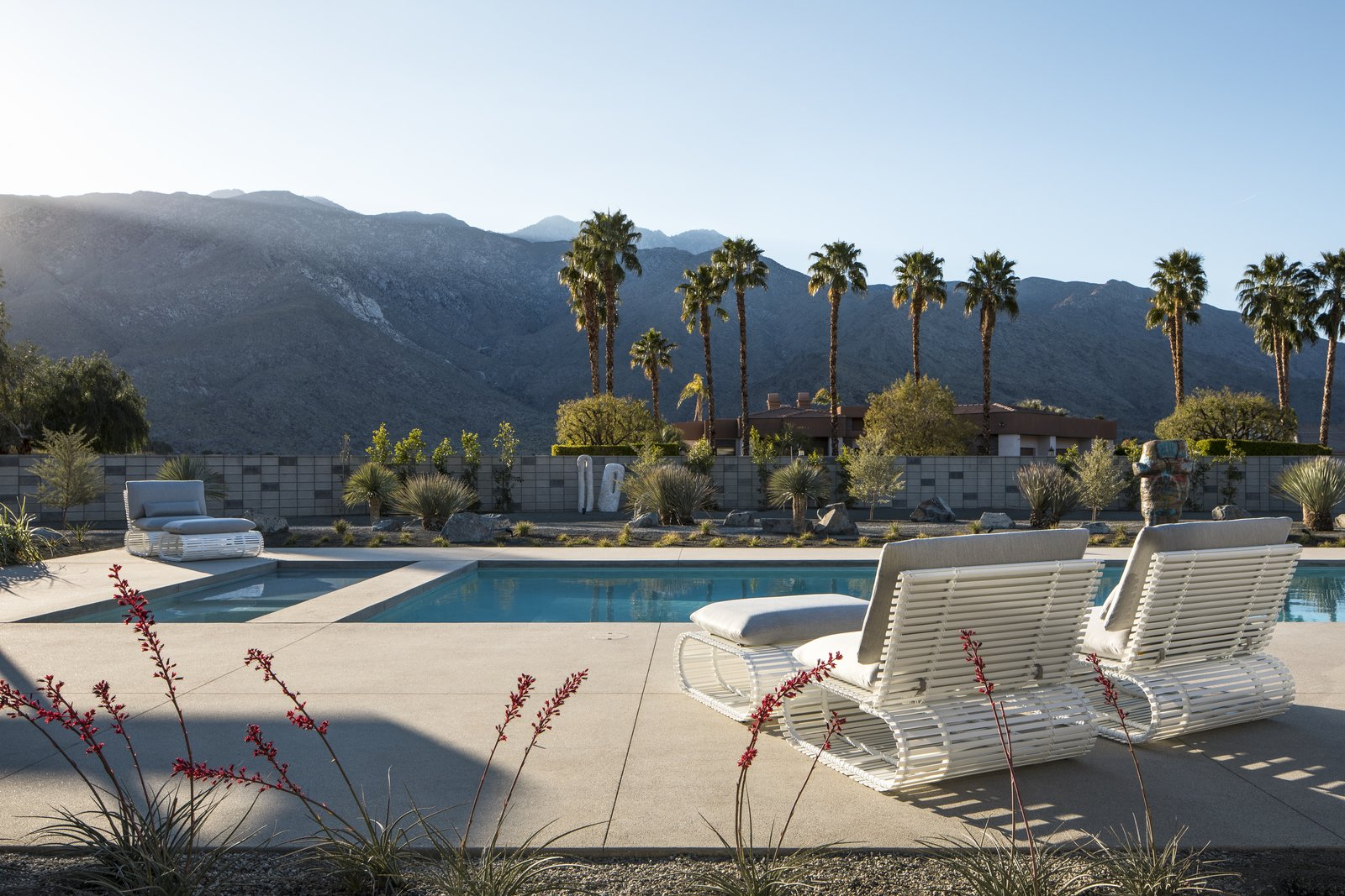 Outdoor, Trees, Boulders, Swimming, Desert, Large, Concrete, Back Yard, Shrubs, and Gardens Astounding views of palm trees and the surrounding Palm Springs landscape are provided from 360-degree exterior views.  Best Outdoor Boulders Desert Photos from The Last Donald Wexler–Designed Home Ever Built Asks $2.65M