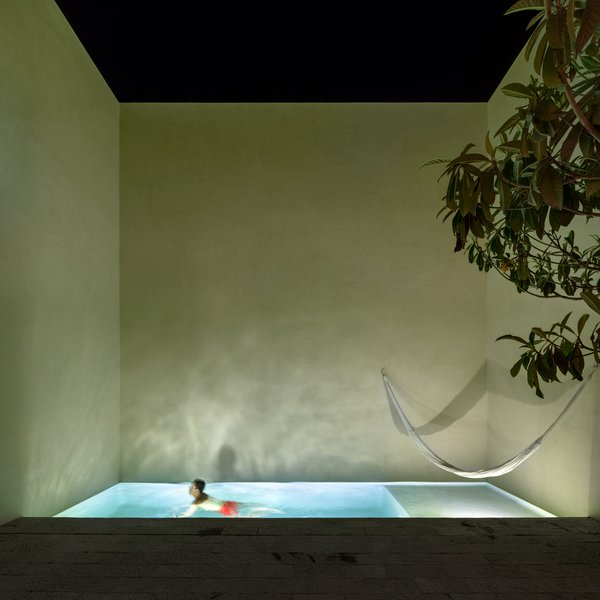 The largest of the three courtyards includes a swimming pool and hammock—an ideal spot for rest and relaxation.
