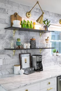 Open shelves provide a location to display decorative accessories.