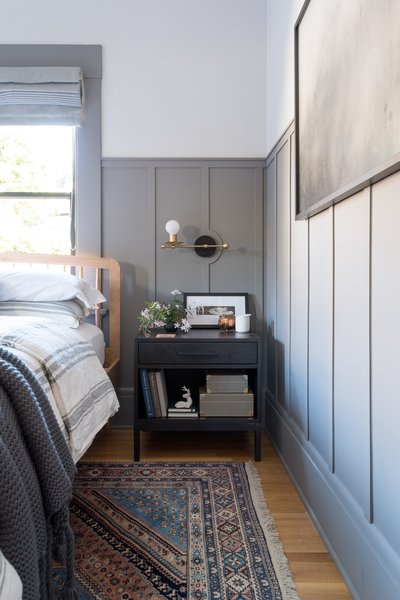 The nightstand tables from Room & Board are customized in size, stain, and hardware to fit the space perfectly.