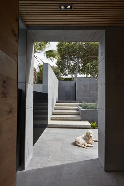 Natural stonework flawlessly transitions from the exterior landscaping elements to the home's facade, creating a pure, architectural gem.