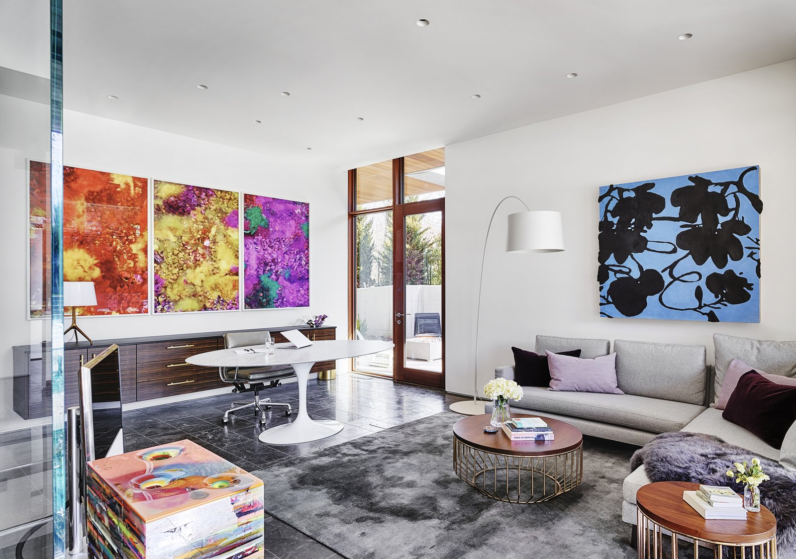 Office, Chair, Desk, and Lamps Each space, including his-and-her offices, becomes a unique backdrop for art.    Photo 14 of 23 in A Luminous, Eco-Friendly Abode Is Completed With its Own Modern Art Gallery from Artery House