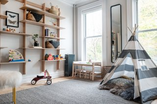 The playroom mixes contemporary design with playfulness.