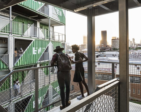 The interior balconies provides plentiful views of the urban core.