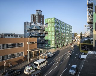 The project's industrial character ties in nicely with the surrounding infrastructure and architecture.
