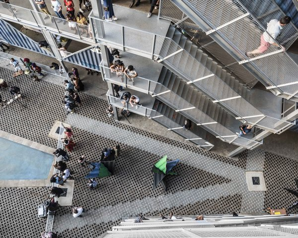 The interior courtyard has become a social gathering space for residents.
