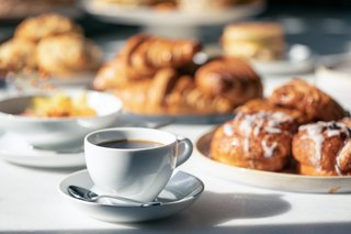 Classic pastries, warm coffee, and Canadian breakfast offerings delight guests in the morning.