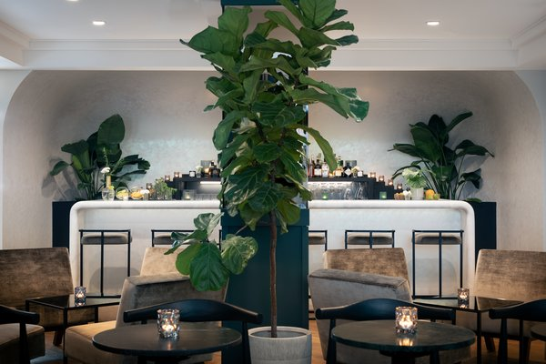 The sleek lobby bar is a cafe by day and a wine bar by night.